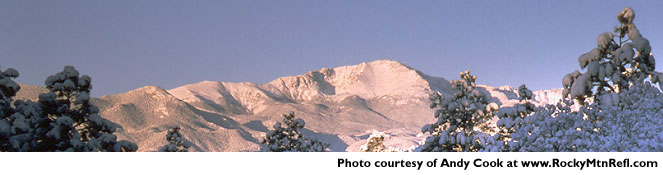 Beautiful snow-covered Pikes Peak